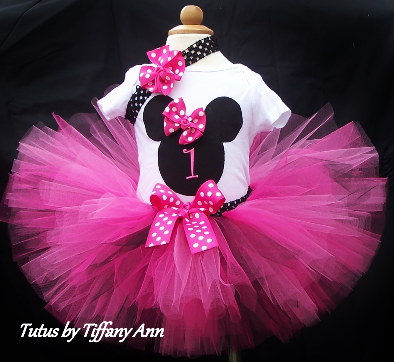 Minnie Mouse Pink Number One First Birthday Tutu Skirt Set Size 12 months 18 months & Minnie Mouse Pink Number One First Birthday Tutu Skirt Set Size 12 ...